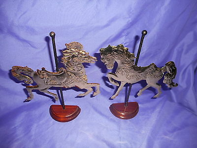 Vtg Pair Homco Home Interiors Brass Tone Carousel Horse Wood Stand