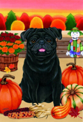Garden Indoor/Outdoor Autumn Flag - Black Pug (TP) 670891
