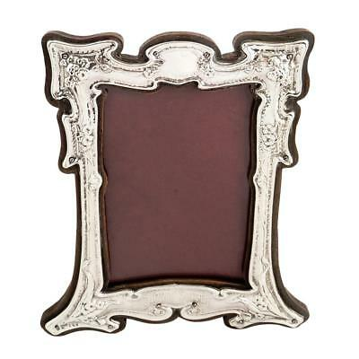 Antique Art Nouveau Sterling Silver Photo Frame - 1904 - 'dinna Forget'