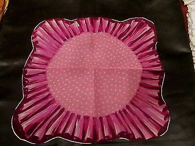 Vintage Pink polka dot and design different hanky cotton hand rolled