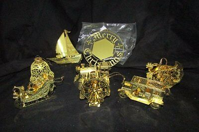 Lot of 8 Vintage 3D Gold Tone Brass Filigree Christmas Tree Ornaments