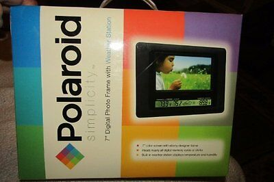 "NEW SEALED Polaroid 7""Digital Photo Frame Built-in Weather Station w/Remote"