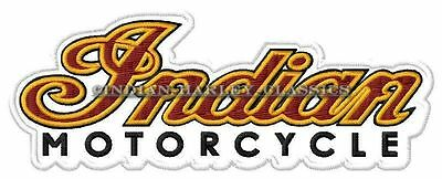 "INDIAN MOTORCYCLE SCRIPT EMBROIDERED PATCH ~4-3/4"" x 2"" CHIEF SCOUT FOUR V2 BIKE"