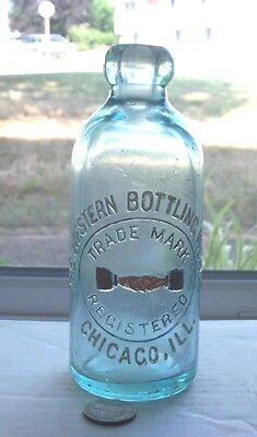 Pictorial Hutch Embossed,the Western Bottling Works(2 Hands Shaking) Chicago Ill