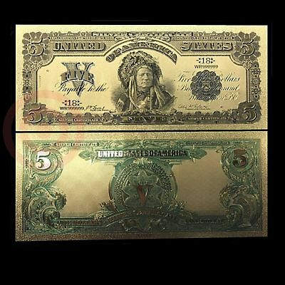 1899 $5 Us Currency Money 24 K Gold Plated Novelty Dollar With Currency Sleeve
