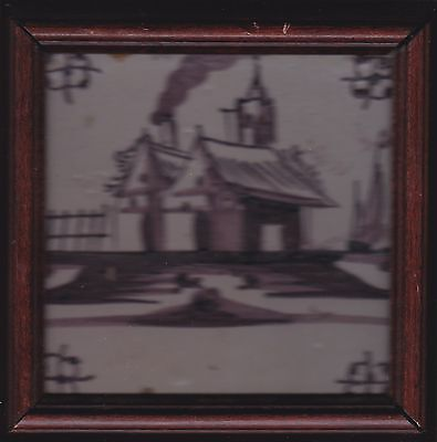 Antique 18Th Century Dutch Delft Sepia Tone  Ceramic Painted Art  Tile