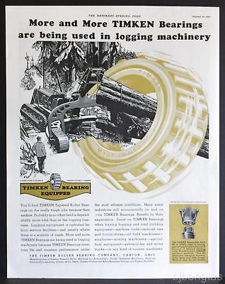 1937 Timken Roller Bearings Forestry Logging Tractor Crawler Arch Print Ad