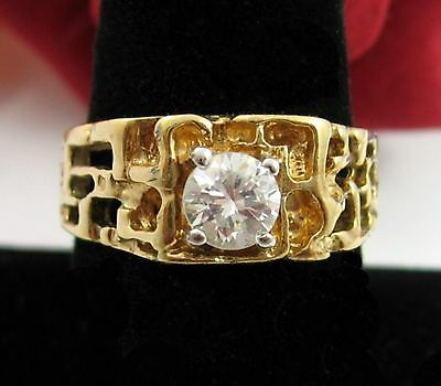 BRILLIANT Cubic Zirconia  RING Vintage 14k HGE CZ Heavy Gold Electroplate Sz 11