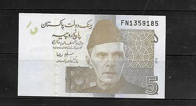 PAKISTAN #53c 2010 UNCIRCULATED 5 RUPEES BANKNOTE PAPER MONEY CURRENCY NOTE