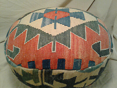 Antique Kilim Rug Foot Stool Ottoman Bench Seat Footed Upholstered VTG Handmade