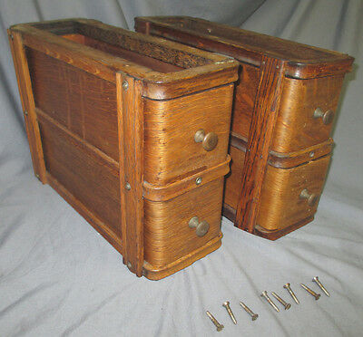 1910 Pair Antique Oak Singer Treadle Sewing Machine Double Drawers 66 Red Eye