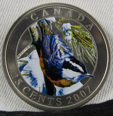 2007 Canada GEM BU 25 Cents Red Breasted Nuthatch Bird Colored Coin AD277