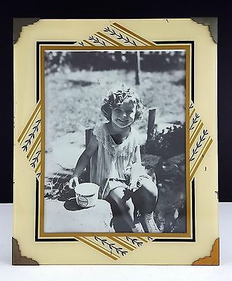 """Shirley Temple 10x12"""" Art Deco Cream, Gold & Black Reverse Painted Picture Frame"""
