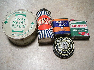 Lot of 5 Vintage Cleaning Tins Brasso Casco Glue Metal and Shoe Polish