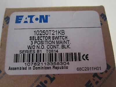 EATON 10250T21KB Non-Illuminated Selector Switch 30mm 3 Position New