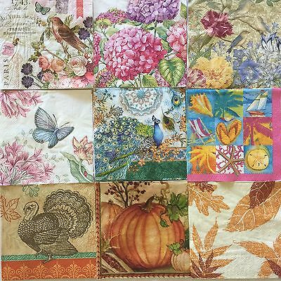 18 Mixed Paper Napkins Decoupage Beverage Assorted Craft LOT