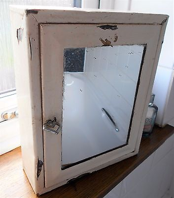 Metal Cabinet Wall Mounted 1930's Small Chrome With Mirror Painted With 1 Shelf