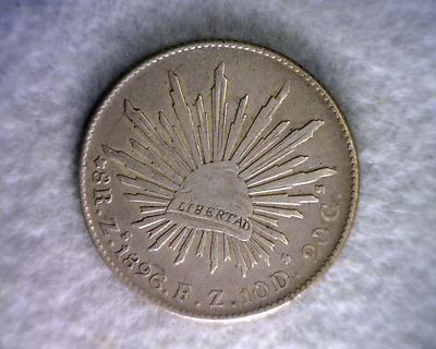 MEXICO 8 REALES 1896 Zs VERY FINE SILVER COIN  ( stock# 0113)
