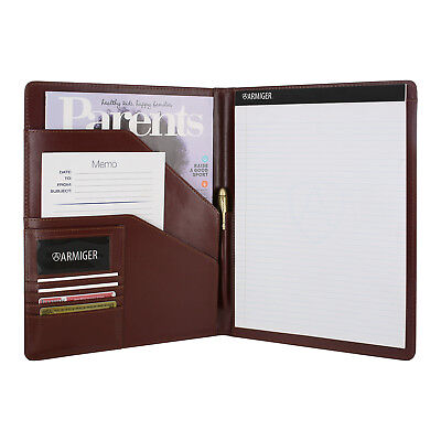 Armiger Executive Bonded Leather Professional Padfolio with Notepad British Tan