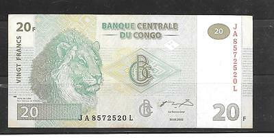 CONGO #94a 2003 VF CIRCULATED 20 FRANCS BANKNOTE PAPER MONEY CURRENCY BILL NOTE