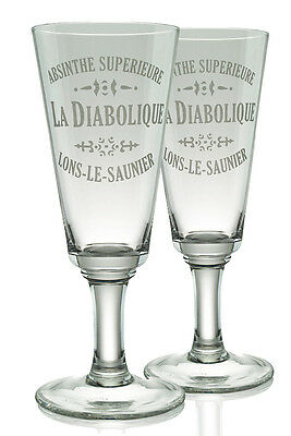 La Diabolique Absinthe Glasses, Set Of 2 & 10 Sugar Cubes !!!