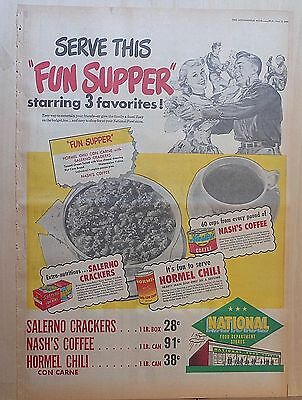 1951 full page newspaper ad for National Food Stores - Serve this Fun Supper!