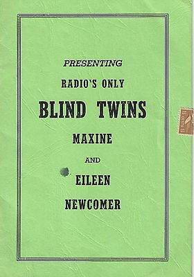 """Blind Twins"" Maxine and Eileen Newcomer WWVA Radio Booklet - Grand Ole Opry"