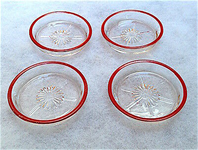 Vintage Art Deco 1940's Set (4) Clear Glass Coasters With Red Painted Rims