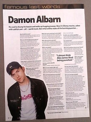 BLUR Damon Albarn 'last words' ARTICLE / clipping