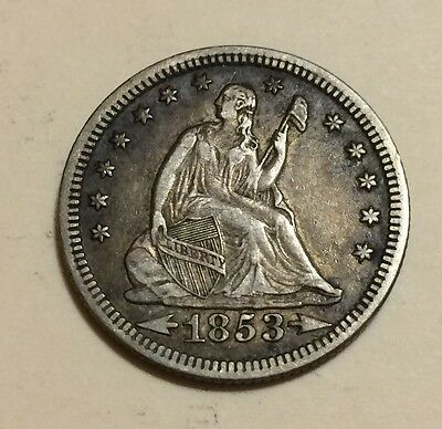 1853 Seated Liberty Quarter, Arrows & Rays, XF+, SCARCE this nice