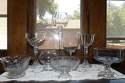 Set Of 8 Mostly Patterned Glass Containers-Candy Buffet Wedding/Party