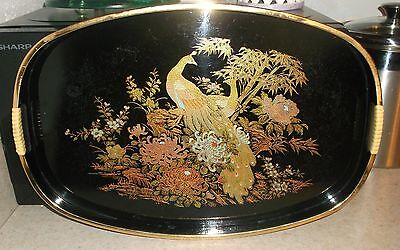 vtg Japanese Japan lacquer ware serving tray black gold peacock