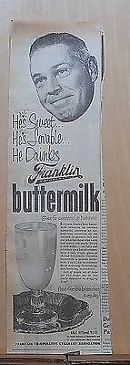 1951 newspaper ad for Franklin Co-Operative Creamery-Sweet man drinks Buttermilk
