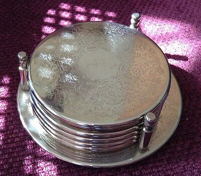 6 Lovely Vintage Silver Plate Drinks Coasters Set On Bottle Stand Tray