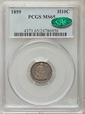 1859 US Silver H10C Seated Liberty Half Dime - PCGS MS65 - CAC