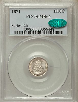 1871 US Silver H10C Seated Liberty Half Dime - PCGS MS66 - CAC
