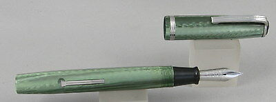 Esterbrook J Transitional Green & Chrome Fountain Pen - 3550 Sunburst Nib - 1940