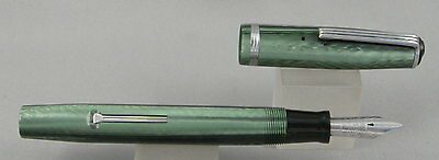 Esterbrook J Transitional Green & Chrome Fountain Pen - 3668 Sunburst Nib - 1940
