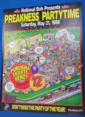 "1988 NATIONAL BOHEMIAN BEER ""Preakness Party Time"" 17""x22"" promotional poster"