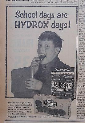 1957 newspaper ad for Hydrox Cookies - School Days are Hydrox Days! happy boy