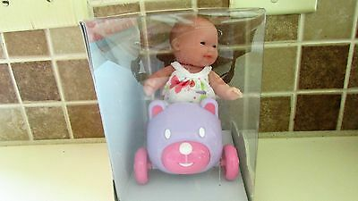 5 Inch Berenguer Doll  with toy riding car   NEW in un-opened box