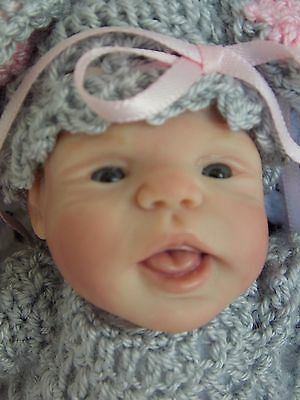 "OOAK 7"" Handsculpted by Laura Lee Eagles RARE Polymer Clay Baby Doll"