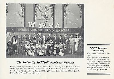 WWVA Jamboree Postcard Ad + Clipping Newcomer Twins - Grand Ole Opry