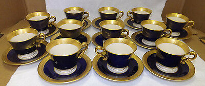 12 Old Ivory Syracuse China Queen Anne Demitasse Cups Saucers Cobalt Blue Gold