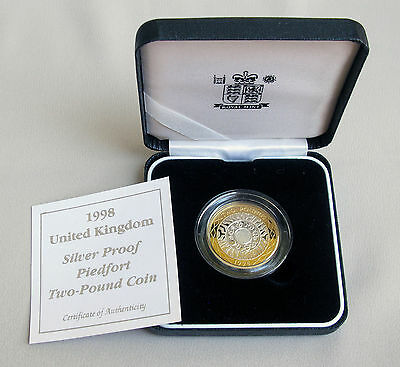 1998 United Kingdom SILVER PROOF PIEDFORT £2 Two-Pound Royal Mint Coin;E268