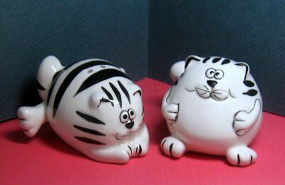 """Fat Black & White Striped Cats S&P  Salt & Pepper Shakers   Approx. 3"""" Bottom"""