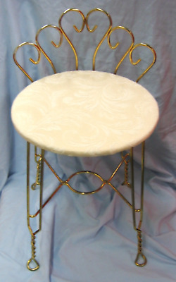 Vintage Gold Tone Metal Vanity Stool with Cushion (750)
