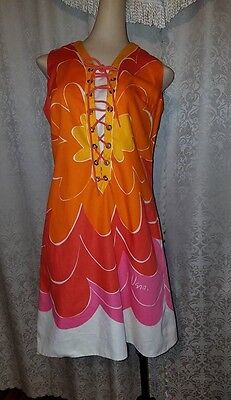 "vtg Vera Neumann floral pop art mod cotton dress 60s 70s chest 38""  waist 36 S/M"