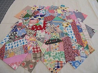 VINTAGE  FABRIC   CRAZY QUILT BLOCKS ---SIZE  5 INCHES EACH-set 2
