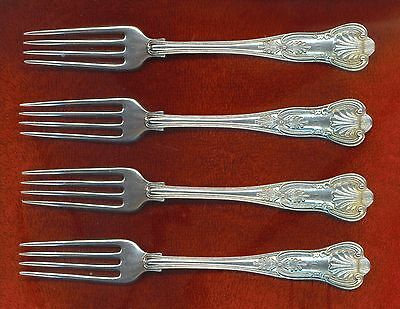 Gorham KINGS 4 Dinner Forks Excellent Monogram Free Ship  7 inches C or T Monogr